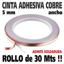 Rollo 30 Metros cinta de cobre adhesiva de 5 mm de ancho. Admite soldadura !!