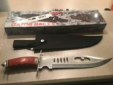 Frost Cutlery Gator Back 5 Bowie Knife Red Pakka Wood Handle 15-790RPW - New
