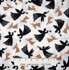 Christmas Fabric - Brown & Black Angel Silhouettes - Timeless Treasures YARD