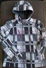 ZeroXposur Boarding Co Womens PLAID Winter Jacket Coat Sz L Black Gray Purple