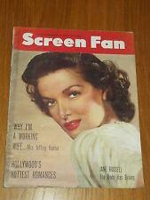 SCREEN FAN VOL 3 #1 JUNE 1954 JANE RUSSELL JEFFREY HUNTER US MAGAZINE~