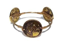 Gold Wire Wrapped Ancient Coin Bangle Bracelet Women Fashion Jewelry NEW