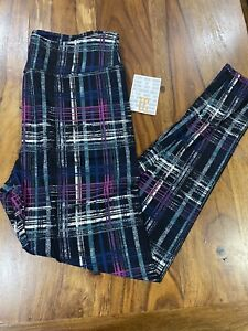TC LuLaRoe Tall & Curvy Leggings Plaid black blue teal white pink new print NWT