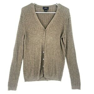 Brooks Brothers 346 Silk Cashmere Cable Knit Cardigan Sweater Womens L Brown