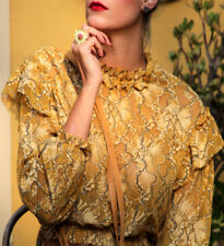 Rare! ZARA Lace cropped top blouse mustard size M NEW Blusa Oro Pizzo NUOVA