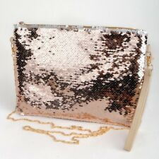 Sequin two way shoulder bag with removable shoulder and wrist strap New Gold