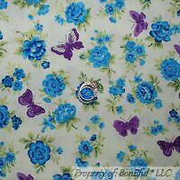 BonEful Fabric FQ Cotton Quilt Aqua Blue Green Butterfly Rose Flower Leaf Calico