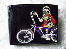 Day of the Dead Skeleton on Bike Decorated Leather Wallet M160