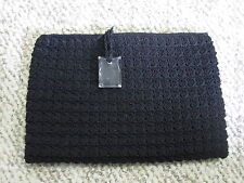 VINTAGE ALL HANDMADE BLACK CLUTCH WITH LINING AND TOP ZIPPER