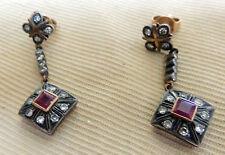 Antique or Vintage 18K Pink Gold Ruby Diamond Pierced Earrings