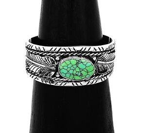 Silver Reticulated Turquoise Southwestern Feather Cuff Bracelet from Taxco