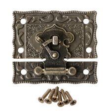 55mmx47mm Vintage Style Latch Wooden Box Hasp Pad Chest Lock Bronze Tone Antique