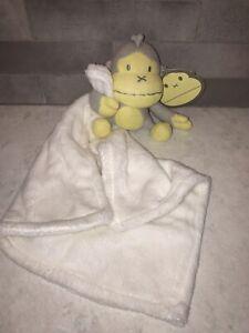 Baby Bum Monkey Duke Gray Yellow Plush Knitted Security Blanket NEW