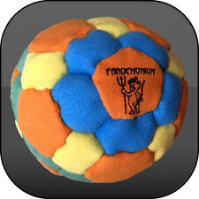 NEON FLUX FOOTBAG, 42 panels, PELLETS & IRON filled hacky sack, aki, freestyle