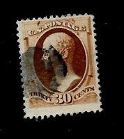 US 1890  Sc# 217  30 cent Hamilton Used  - Crisp Color - Fine Perfs