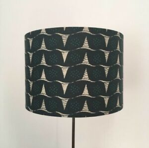 Handmade Drum Lampshade In Kokka 'Tayutou' Teal Fabric