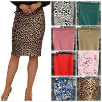 Womens Midi Pencil Skirt Ladies Plus Size Bodycon Office business Skirt 8 To 20