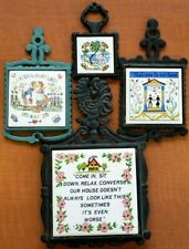 4 Vtg Cast Iron & Ceramic Tile Trivets, Florida One & Other Sayings Colorful