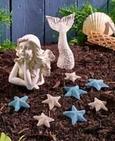 Set 8 Starfish Stones or 2 Pc Mermaid Statue Coastal Outdoor Garden Beach Decor