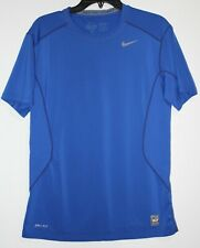 Nike Pro Combat Dri-Fit Blue Fitted Athletic Short Sleeve Mens Shirt Size Medium