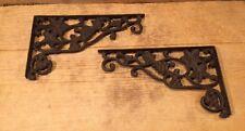 "Pair of Decorative Grape Vine Corner Cast Iron Shelf Brace 12 1/2"" Deep"