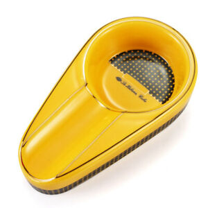 Yellow Ceramic Cigar Ashtray Single Cigarate Holder 1ct Slot Portable Travel Ash