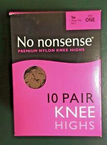 No Nonsense Nylon Knee Highs Tan Size One Sheer Toe 10 Pairs Box (*)