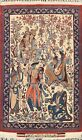 900 Knots Antique Vegetable Dye Najafabad Pictorial Area Rug Hand-knotted 2'x3'