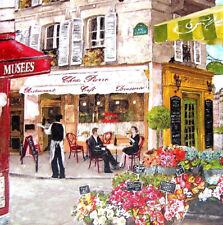 Deko Wandbild Vintage Paris Straßencafe Cafe Bistro Blumenladen Geschenkidee