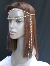 New Women Gold Metal 80's Long Head Chain Imitation Peal Beads Fashion Jewelry