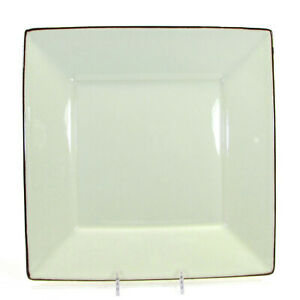 """Pottery Barn ASIAN SQUARE PUTTY 10.5"""" Dinner Plate Tan Brown Trim Japan"""