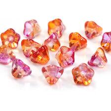 2 Stück Muranoglas Blüte Charms 8x8mm lila/orange