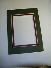 Picture Frame Double Mats 11x14 for 8x10 photo Forest Green with maroon liner