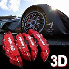 4pcs 3D Car Truck Disc Brake Caliper Covers Front & Rear Red Brembo Style