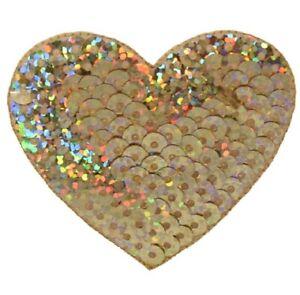 4x2 LOVE Sequins Iron-on Patch Gold Sequins Patch Paris