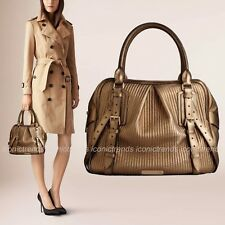 NWD BURBERRY Soft Pleated Stitched Leather Medium Rosaville Bowling Bag Gold
