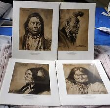 4 Western  Art Prints Geronimo,Spotted Tail Ouray Bear Bull Wes Chapman