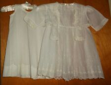 Christening DRESS gown & slip antique lawn embroidery lace Baptism baby clothes