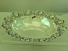 """Sterling  Silver Round Rose Detailed Bowl 10.25"""" inch"""