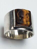 900 Silber Ring Handarbeit Halbmond Krone punz. geschn. Tigerauge Römerkopf RG61