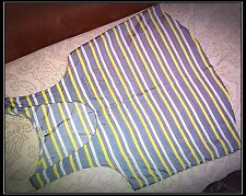 I Love H81 Women's Yellow Grey Button-Up Tank Top Cami Sleeveless Striped Size L