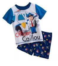 New Officer Caillou Police Pajamas Size 3T Boys Toddler Set PJ's 2 Piece Shorts