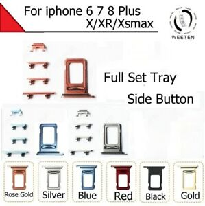 Sim Tray For iPhone 6/7/8 Plus X/XR/XSMAX + Set Side Button Power and Volume