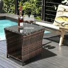 Brown Wicker Rattan Side Tea Table With Glass Patio Outdoor Garden Furniture New