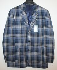 Ralph Lauren Mens Navy Blue Plaid 100% Linen Blazer Sports Coat NWT $300 40 R