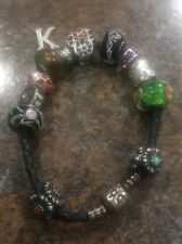 pandora leather bracelet with charms 7 .25""