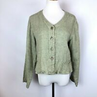 FLAX Pale Green Linen Button Front Top Light Jacket Lagenlook Size Small
