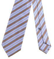 Stefano Ricci Luxury Collection Blue & Brown Multi Stripe Smooth Satin Silk Tie