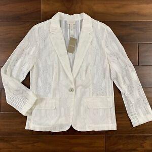 Chico's Women's Size 1 / Medium White Alabaster Celebration Eyelet Blazer Jacket