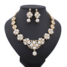 Fashion White Pearl Necklace Earrings Set Gold Plated Wedding Jewelry Sets
